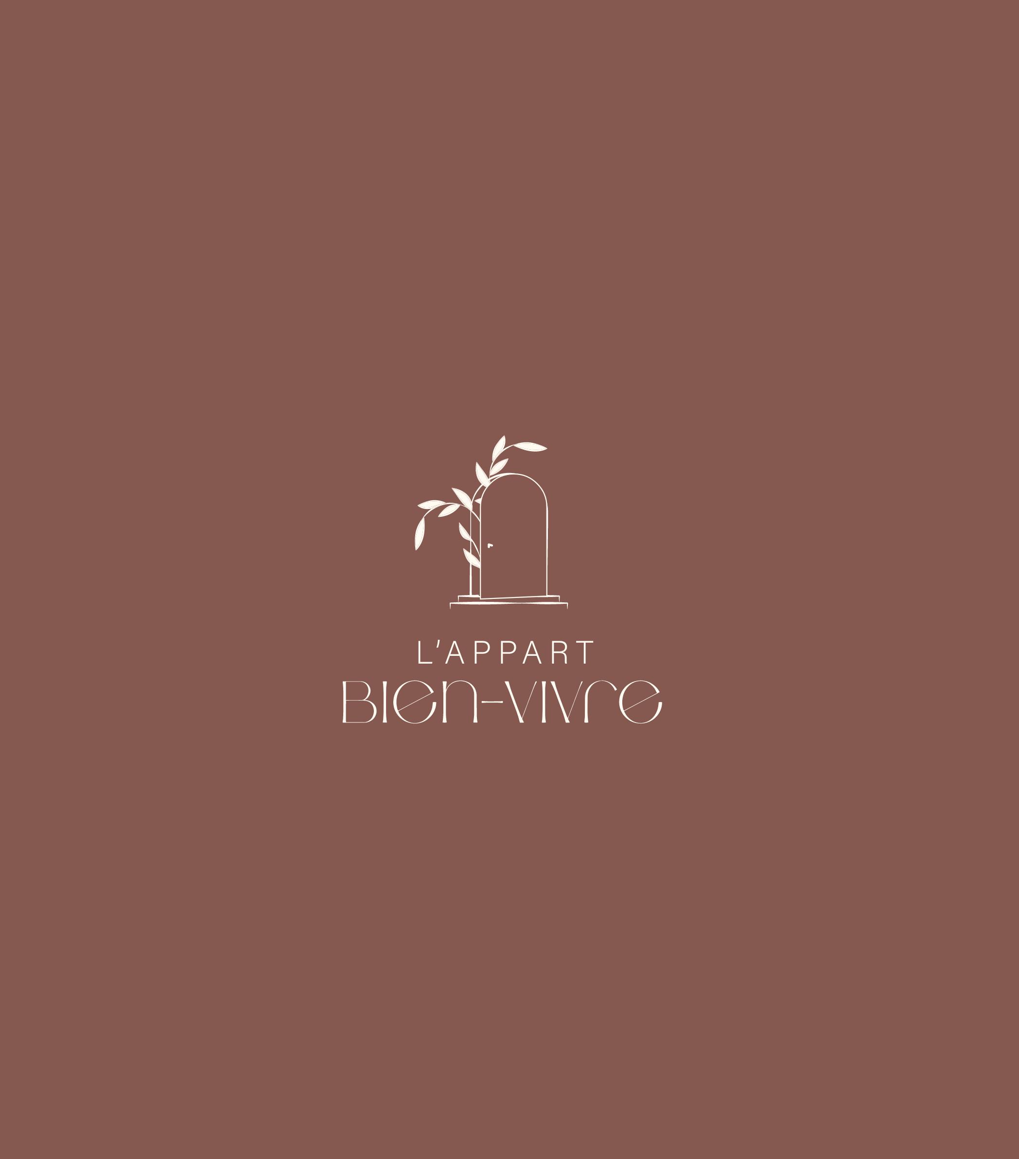 Logo de l'Appart Bien-Vivre sur fond couleur terracota/bordeaux
