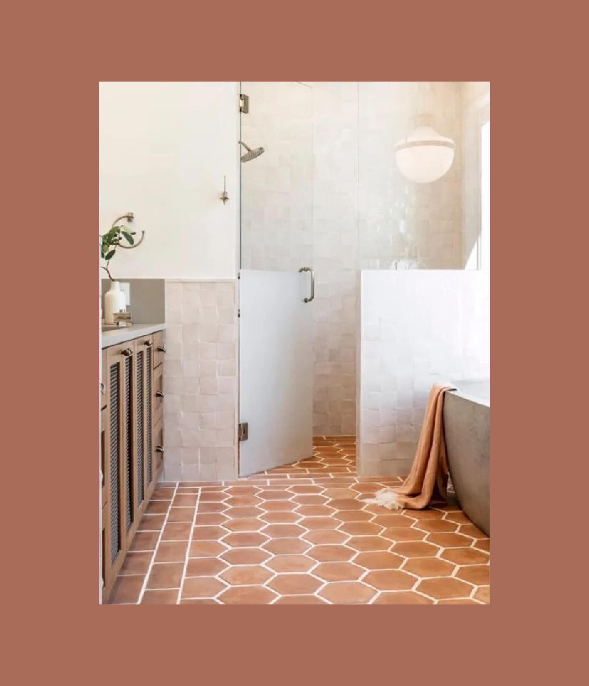 1686 - photo d'une salle de bain avec un carrelage terracota