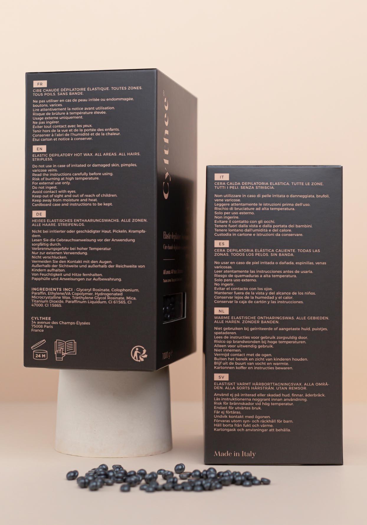 Photographie de packaging des faces latérales du packaging Cylthee